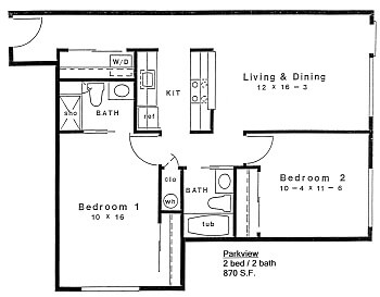 Floor plan of 870 S.F. 2 bed 2 bath home in 55+ apartments at Daystar Retirement in West Seattle