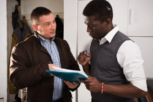 Landlord demonstrating effective communication with a tenant