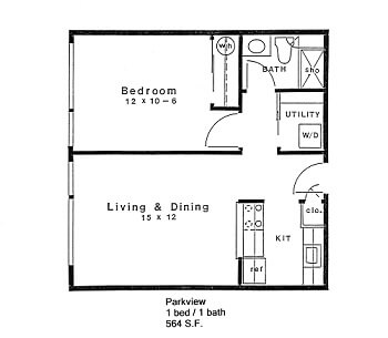 Floor plan of 1 bed 1 bath home in 55+ apartments at Daystar Retirement in West Seattle