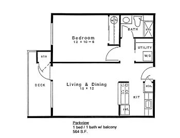 Floor plan of 1 bed 1 bath home with deck in 55+ apartments at Daystar Retirement in West Seattle